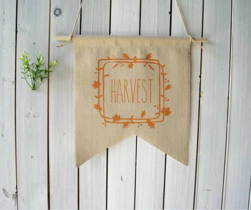 Wall Decor Autumn Harvest Wreath Fall Decor Thanksgiving Sign Linen Wall Hanging Bunting Autumn Banner Halloween Pennant Rustic