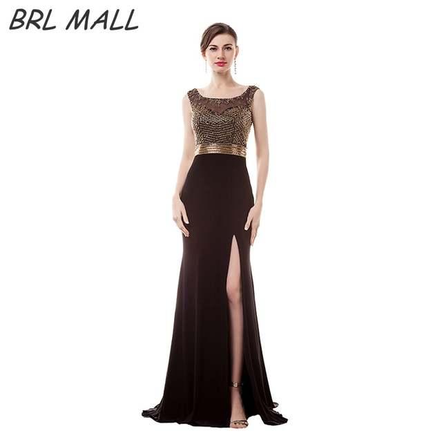 Online Shop BRLMALL Elegant black Mermaid Prom Dresses 2017 Scoop Neckline  Gold Beads Sexy Side Slit Evening Dresses robe de soiree  d6e688e1edb1