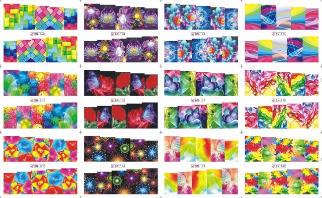 On sale !!    1 Lot=20sheets 12 in one sheet  New Style Nail Art Water Sticker Dazzle colour series  in 2016 for  BN169-180