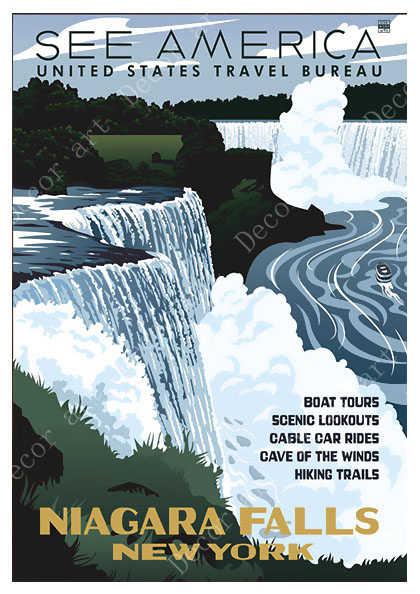 Niagara Falls New York /& Canada United States Travel Advertisement Art Poster