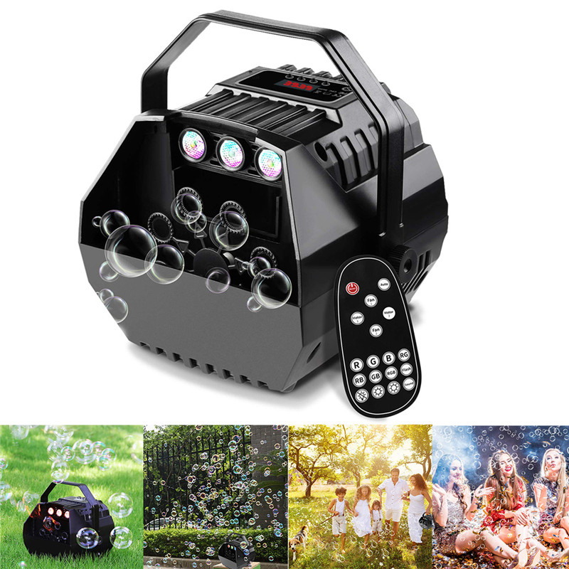 New 15W LED Lamp Romantic  Light Automatic Bubble Machine Remote Control Great For Kids Wedding Birthday Parties AC90-240V