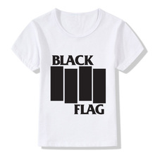 Black Flag Print T-Shirt Boys Girls Toddlers Kids