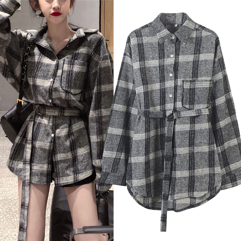 Sleeve Spring Lattice Style Women New Collar Plus Full 2019 With Blouse Shirts Down Size Plaid Chic Turn Print Korean Gray Sashes qXttWwvg
