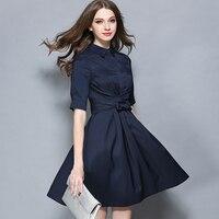 Quality High Waist Summer Autumn Vintage Elegant Turn Down Collar Half Sleeve Short Bow Shirt Dress