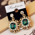 2015 New Fashion Exquisite Inlay Imitation Diamond Pearl Sparkling Square Crystals Earrings Women Jewelry Accessories E327
