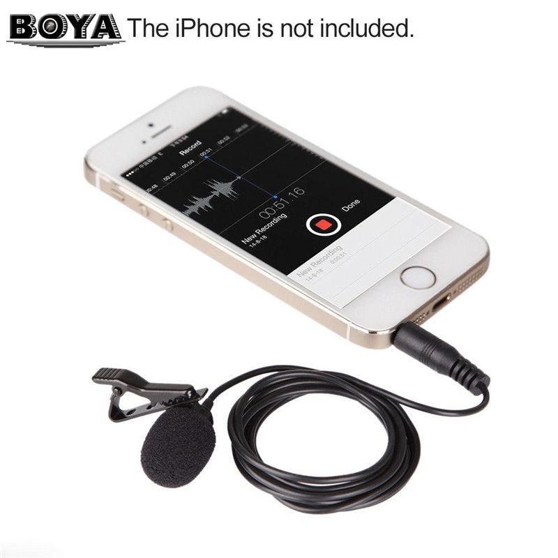 Boya by lm10 by lm10 phone audio video recording lavalier condenser microphone for iphone 6 5