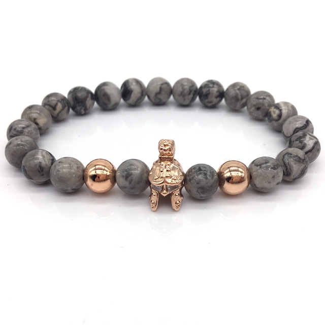 NAIQUBE 2017 Brand New Fashion Roman Spartan Warrior Bracelets For Men Women With Grey Stone Bead Charm Bracelet Jewelry Gift