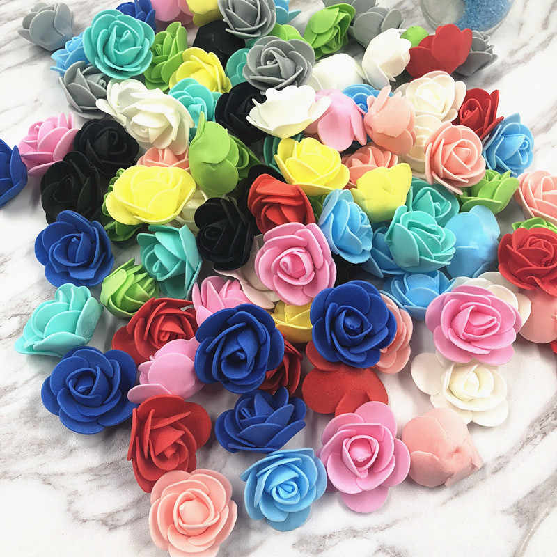 20pcs 3cm Artificial Flower Mini PE Paper Rose Heads Handmade Wedding Decoration DIY Wreath Gift Scrapbooking Craft Fake Flowers