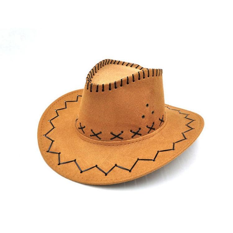 100pcs/lot Wide Brim Cowboy Hat Suede Look Wild West Fancy Dress Men Girls Solid Colors Gorros Cap Women's Hats Chapeau Femme 3