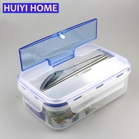 Lunch Box Healthful Plastic Sealed Soup Lunch Boxes 3 Grid Separated Lunch Box Microwavable Oven Food Box With Spoon EGL096