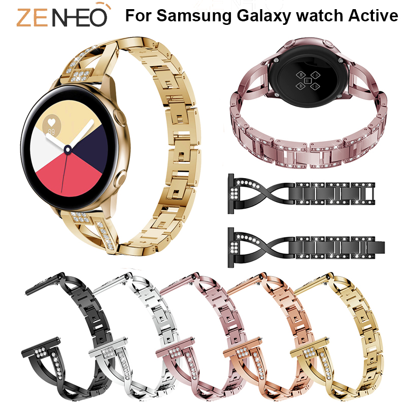 42mm Stainless Steel watchband strap For Samsung Galaxy watch Active smart Watch bracelet Metal Wristband Rhinestone Replacement in Watchbands from Watches