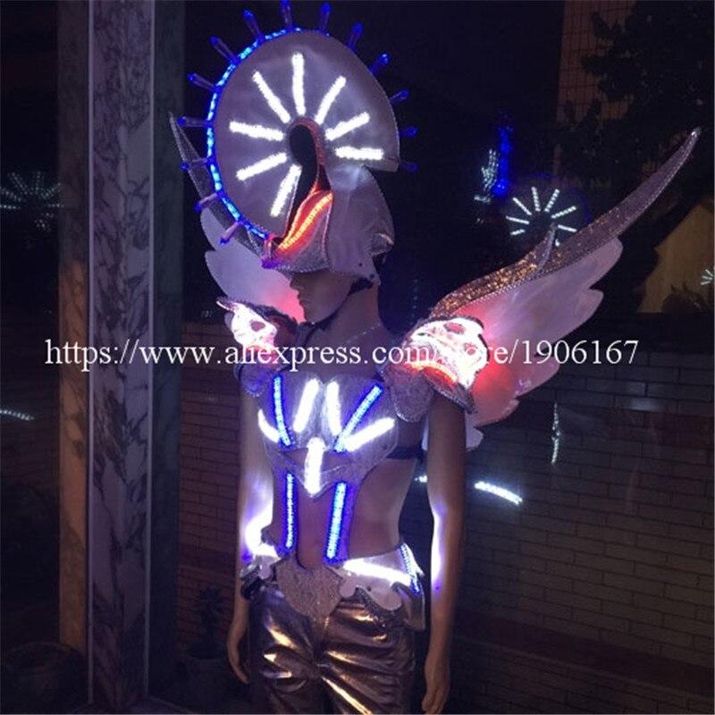 Coloré Led lumineux blanc chevalier passerelle vêtements chanteur Cosplay salle de bal Costume pour scène Performance danse DJ Bar TV Show
