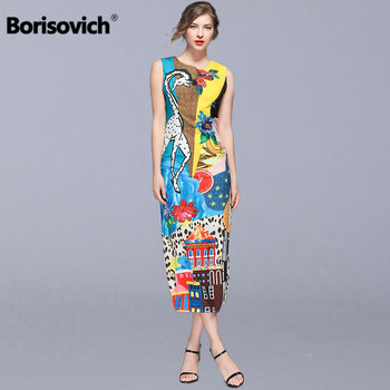 Borisovich Women Summer Casual Long Dress New Brand 2019 Fashion Print Sleeveless Elegant Slim Female Pencil Dresses N919