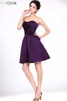 Freeshipping Sweetheart A Line Purple Satin Formal Wedding Party Gown Bridesmaid Dress