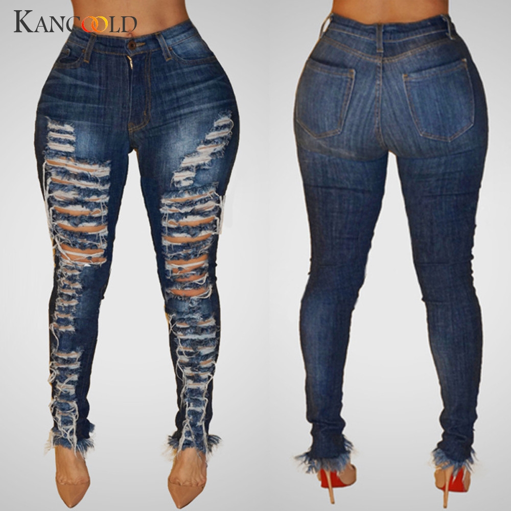 KANCOOLD   jeans   Women fashion High Waisted Hole Skinny Denim   Jeans   Stretch Slim Pants Calf Length   jeans   woman 2018Oct23