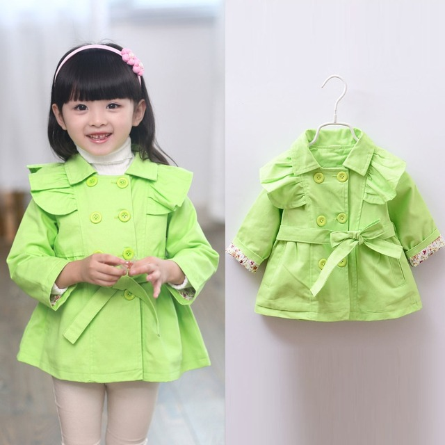 2015 Fashion Autumn Ruffles Double Breasted Children Clothing Kids Gilrs Pricesss Outwear Coat Trench Belted Coats  MT228