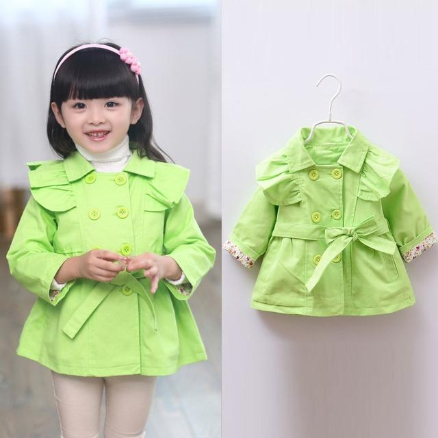 2015 moda otoño Ruffles doble de pecho ropa infantil niños Gilrs Pricesss Outwear la capa de foso con cinturón abrigos MT228