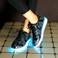 Blue and red led shoes women casual shoe large size 4.5-14 flat with 2017 spring/autumn mixed colors shoes super star shoes