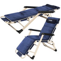A Quick Folding Outdoor Beach Chairs Foldable Office Lounger with Armrest Adjustable Backrest and Footrest for Dual Use as Bed