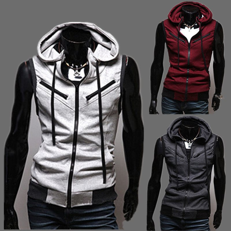 New High-quality Cotton Men's Fashion Design Suit Vest / Grey Black High-end Men's Business Casual Hooded Vests Dropshipping