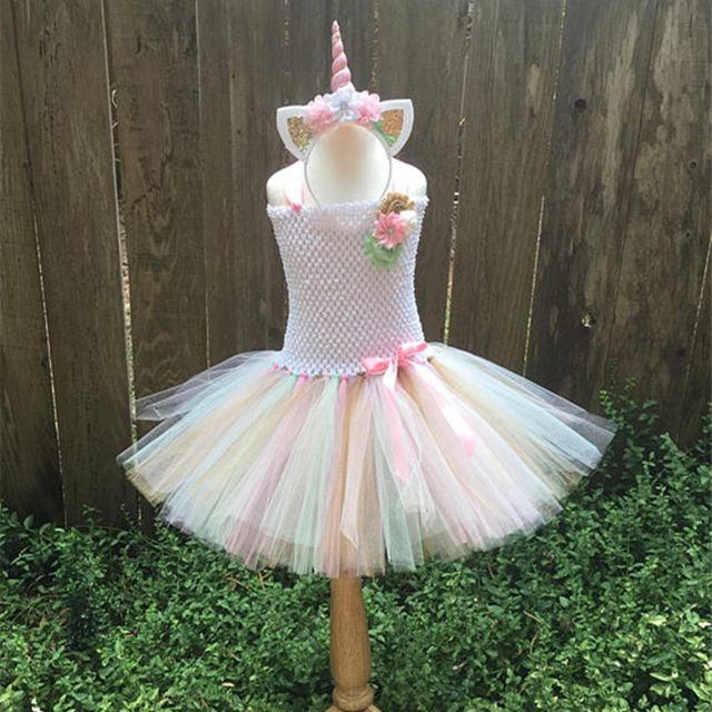 online shop girls tutu dress fancy rainbow princess pony unicorn dress with headband christmas halloween costume kids girl party dress 1 14y aliexpress