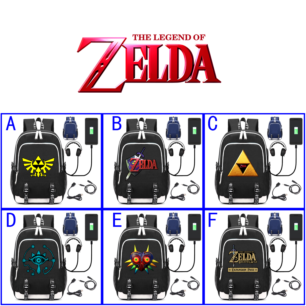 Game Zelda Breath of the Wild Skyward Sword Backpack Notebook Backpack Multifunction USB Charging Backpack Laptop Bag School Bag