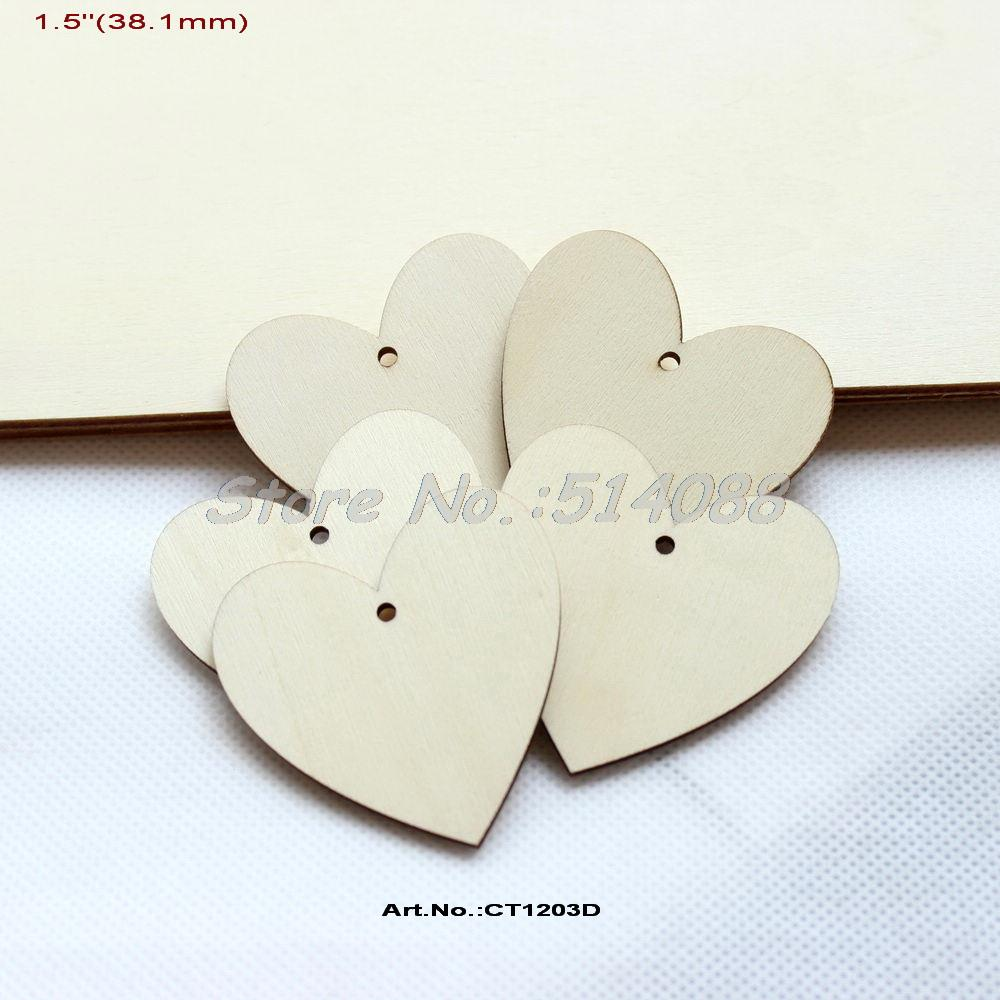 (100pcs/lot) 38MM Blank Wooden Heart Tags Cutout Rustic Wedding Save the Date Love Tags Strings Hanging 1.5 -CT1203D
