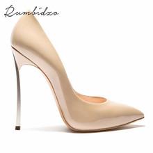 Rumbidzo 2017 Größe 43 Marke Schuhe High Heels Frauen Pumpt Hohe ferse Damenschuhe Spitz High Heels Metall Ferse Hochzeit Schuhe