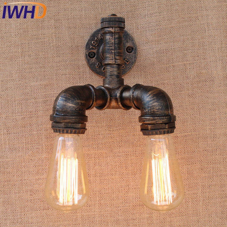 Loft Style Iron Water Pipe Lamp Industrial Edison Wall Sconce Switch Vintage Wall Light Fixtures Home Lighting Antique Lamp loft style iron edison wall sconce industrial lamp wheels vintage wall light fixtures antique indoor lighting lampara pared