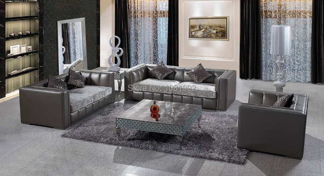 Full Italy Top Grade Cow Leather Sofa Modern With Fabric Cushions Living Room
