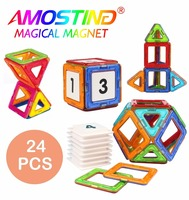 24PCS Magnetic Building Blocks Toys Designer Construction Enlighten Educational 3D DIY Toys Children Gifts Clear Color