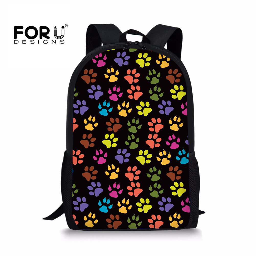 FORUDESIGNS School Bag Girl Mix-color Dog Paw Printing Kids Backpacks Kindergarten Schoo ...