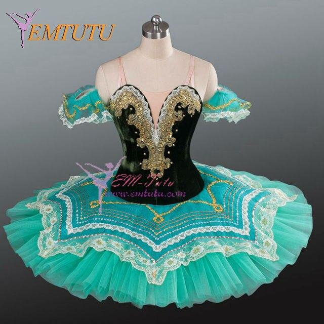 e16f27e6f € 188.15 5% de DESCUENTO|Las mujeres Esmeralda verde tutú de ballet  profesional de panqueque bandeja rendimiento tutús concierto la competencia  de ...