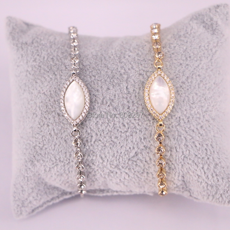 Wholesale 10Pcs Gold Silver Color Pave Cubic Zirconia Shell Charm Bracelet for Women Adjustable Chain Bracelets Jewelry