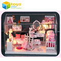 Miniature DIY Wooden Doll House Handmade Pink Princess Dollhouse Cute Furniture Toys for Girls Glass Box With LED Lights Gift