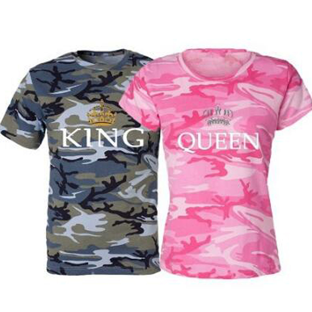 Top 2017 Summer Style Male Female Camouflage T Shirts King Queen T  NX09