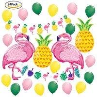 24pcs/set Pink Flamingo Pineapple Balloons Animal Leaves Garland Banner Birthday Wedding Shower Summer Party Decor