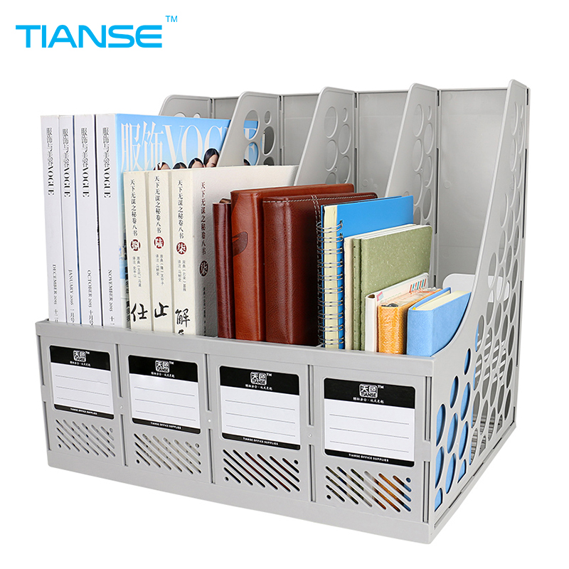 TIANSE document trays file holder 4 cases grey plastic file organizer for desktop storage office stationery suppiles file folder 1 set business file tray diy desktop magazine a4 file organizer document trays office supplies stationery random color