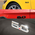 Auto 5.0 Fender Emblemas Pegatina para Ford Mustang GT 5.0 2011 ~ 2014 Cromo Negro Etiqueta Engomada 3D Del Coche Insignia calcomanías Accesorios