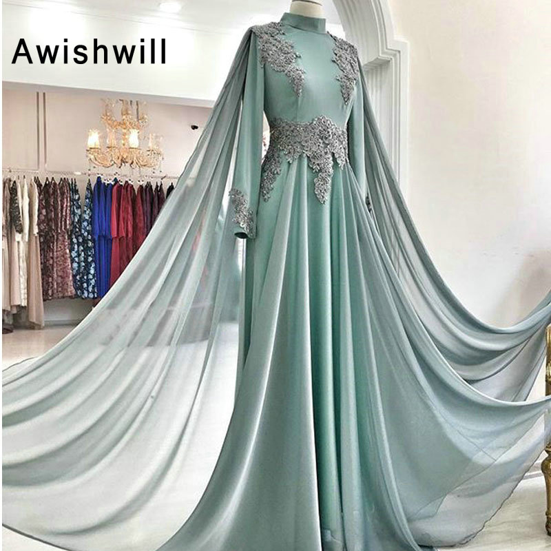 fe40357a18 Elegant Evening Gowns With Cape High Neckline Appliques Prom Dress for  Party Formal Dresses Long Sleeves Arabic Evening Dress