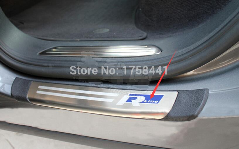 For Volkswagen Touareg 2011 2014 Blue R line Side Door Sill Threshold Scuff Plate 4pcs