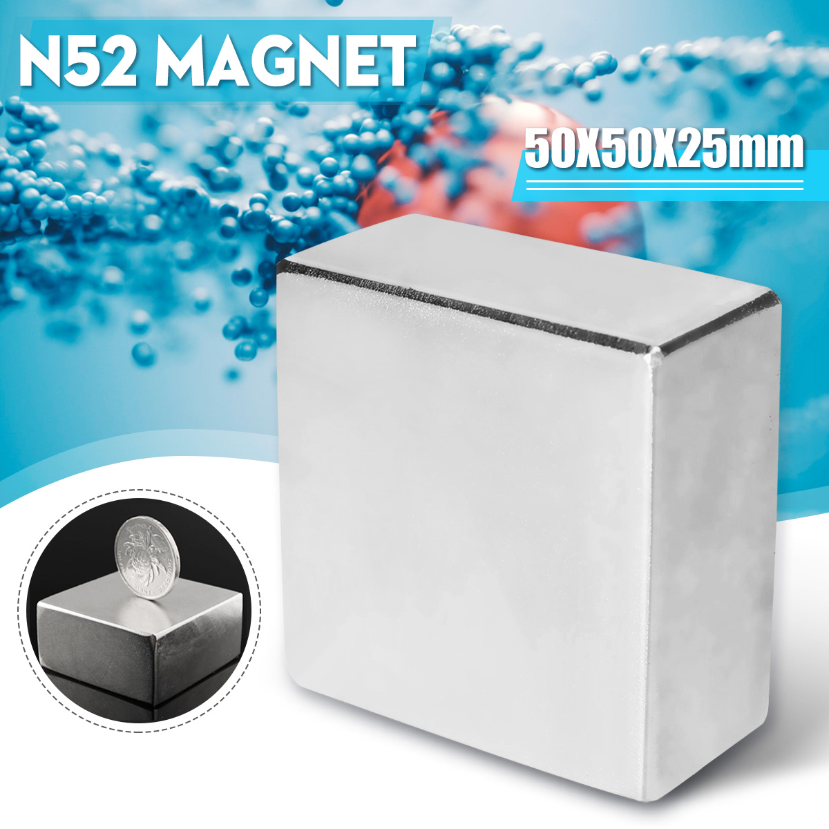 Supers Starke Große N52 Neodym Block Permanent Magnet der Seltenen Erde 50X50X25mm
