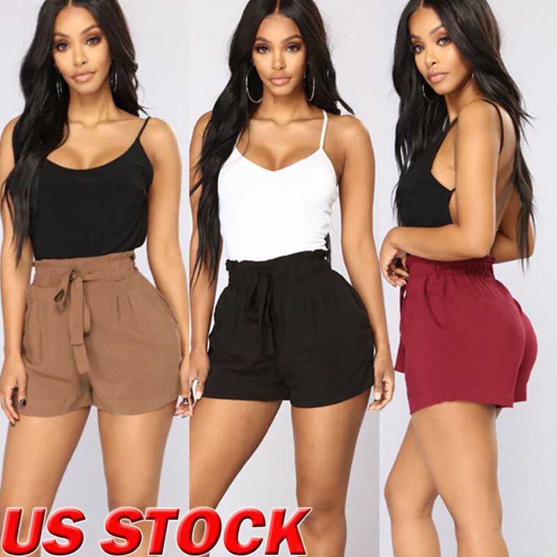 Womens Summer Hot Ruffled   Shorts   Bandage Casual Loose Beach Party   Shorts   Lace up   Short   Trouser New Fashion Streetwear Plus Size