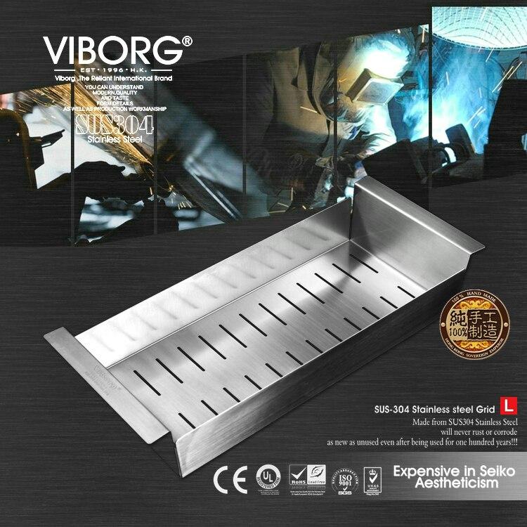 VIBORG Deluxe 438x185x80mm SUS304 Stainless Steel Lead-free Kitchen Sink Rinse Draining Basket Rack Strainer bradex draining rack