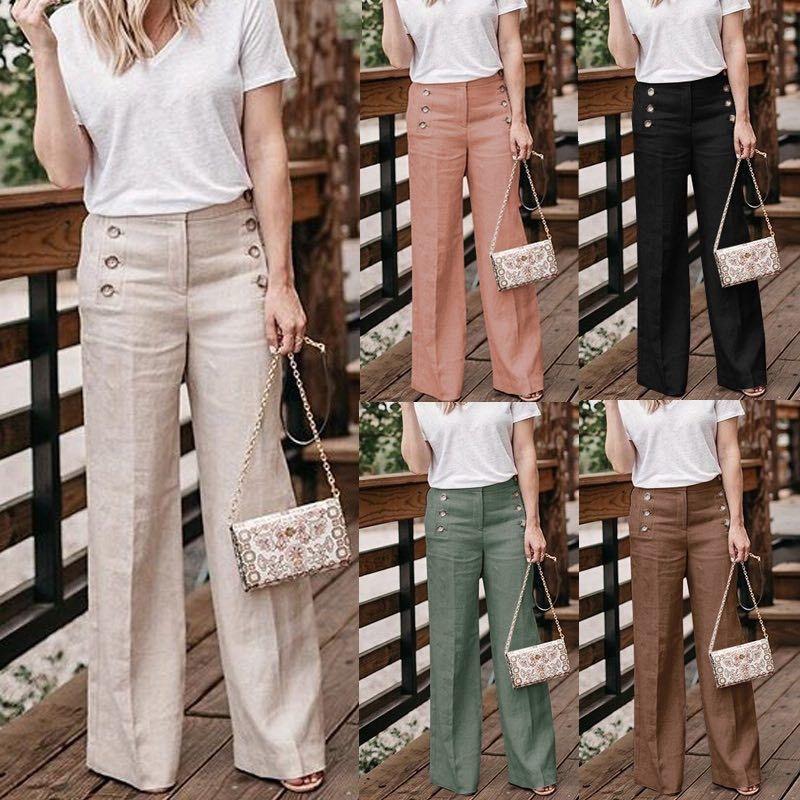 Plus size 3xl 2019 verão novo algodão quente de linho mulheres largas pernas calças sólido casual cintura alta botão calças femininas calças soltas