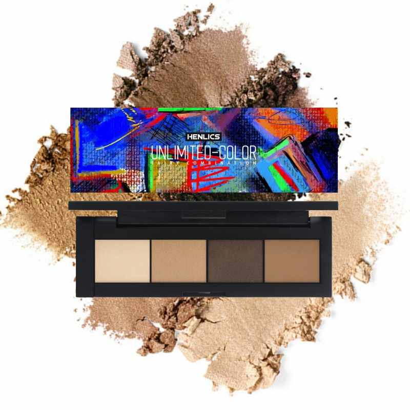 HENLICS Shimmer eye shadow palette สวมใส่ได้ง่ายติดทนนาน 4 สี matte Eyeshadow palette เครื่องสำอาง professional shadows
