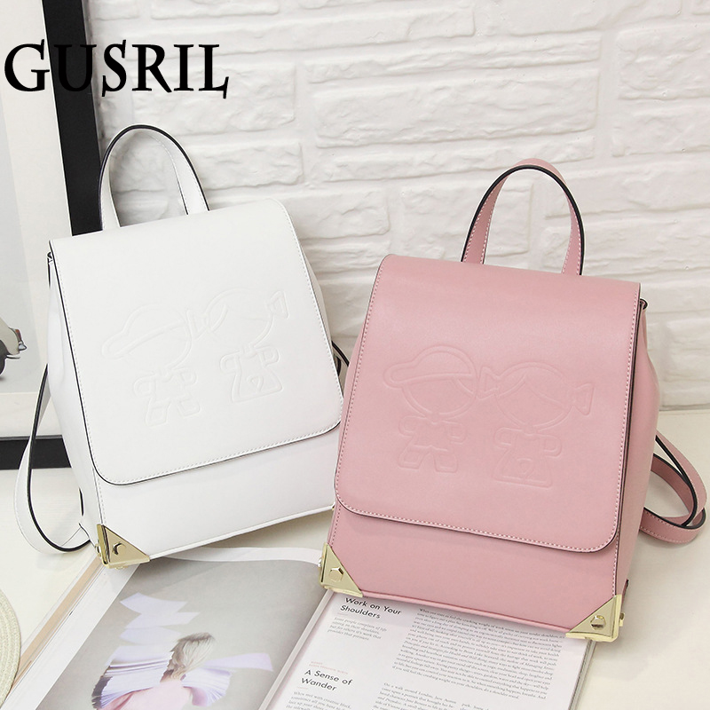 Korean Version of the Simple Female Shoulder Bag Solid Color Women Backpack Fashion Cute School backpack PU Leather Ladies Bag oxford bag korean version of the female students shoulder bag large capacity backpack canvas backpacks