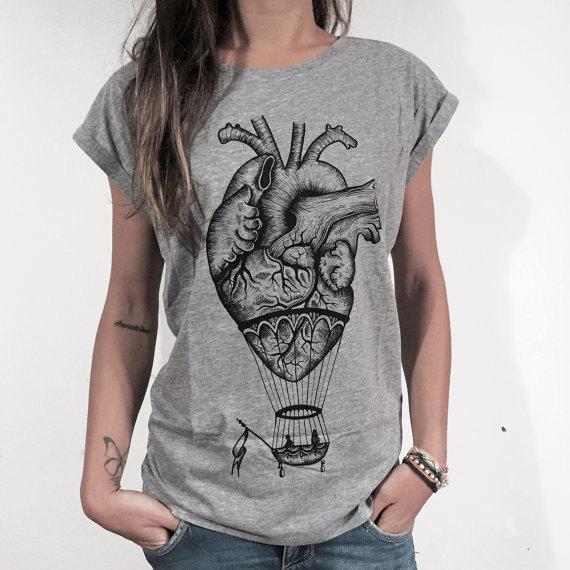 กายวิภาคหัวใจเสื้อยืดผู้หญิงบอลลูนอากาศร้อนหัวใจสบาย ๆ Tee ท็อปส์พิมพ์เสื้อทีเสื้อยืดขนาดสหรัฐ XS-2XL