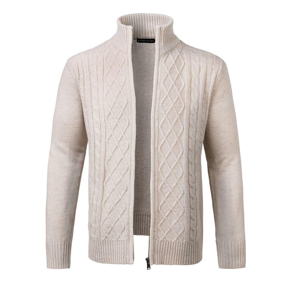 Der GüNstigste Preis Voboom Männer Zipper Pullover Mantel Winter Frühling Beige Wolle Mischung Gestrickte Oberbekleidung Männlich Freund Papa Mäntel 100