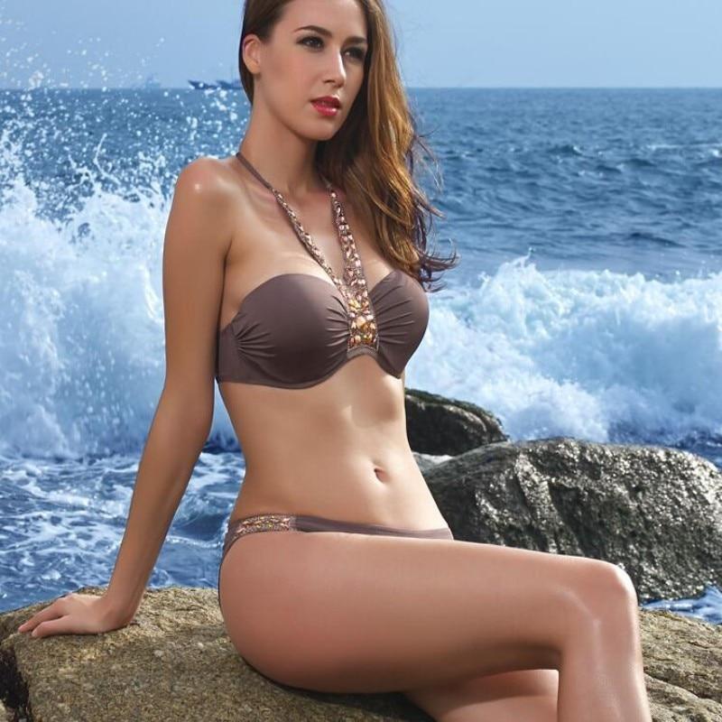 2018 Sexy Women Bikini Set Bandage Deep V Neck Rhinestone Swimsuit Diamond Luxury Swimwear Women Push Up Bodysuit Bathing Suit v neck rhinestone see through blouse